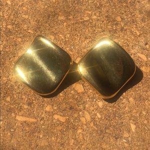 Beautiful square golden earrings
